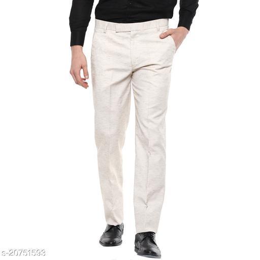Shaurya-F Regular Fit Men Linen Beige Trousers