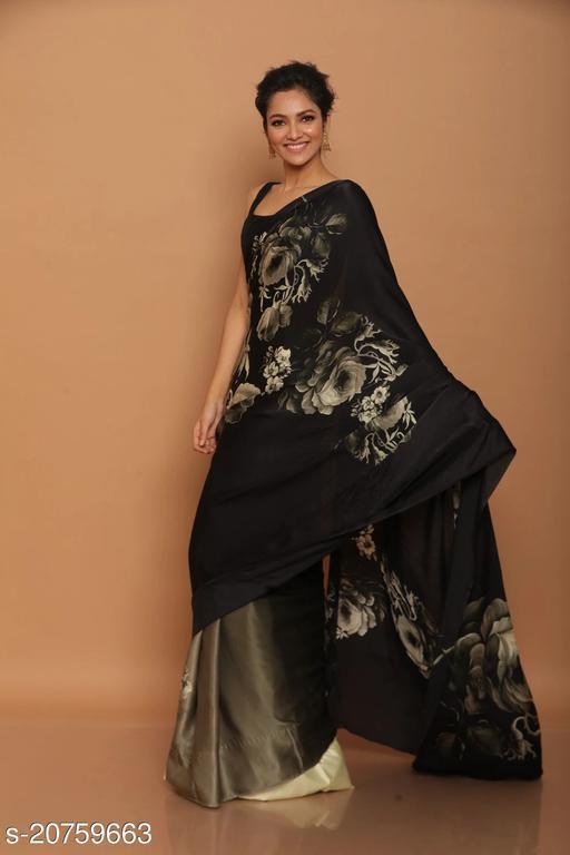 Vihan Designer party wear japan satin saree with unstiched blouse