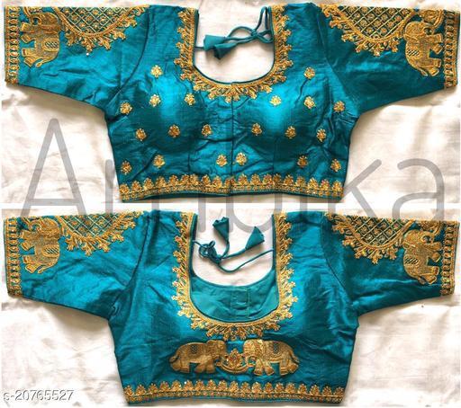 rama color Women's Multicolor Floral Checks Back Design and Check Sleeves Embroidery Phantom Silk Readymade Blouse For Saree and Lehenga Choli