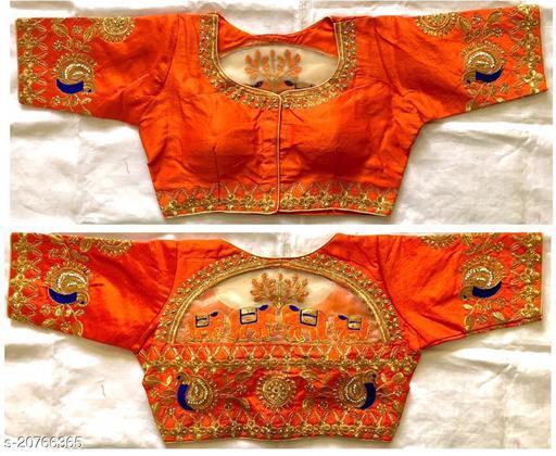 orange color Women's Multicolor Floral Checks Back Design and Check Sleeves Embroidery Phantom Silk Readymade Blouse For Saree and Lehenga Choli