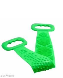 Silicone Body Scrubber/Bath Body Cleaning Belt/Skin Brush Belt/Exfoliator Body Washable Scrubber/Scrubber Belt For Skin/Bathing/Body Dirt Removal For Kids Men's & Women-(GREEN)