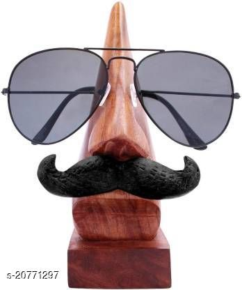 India Wood Mart Wooden handmade antique mustache spectacle holder for man / showpiece / specs holder / 1 compartment wooden holder (Brown)