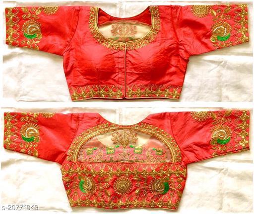 gajari color Women's Multicolor Floral Checks Back Design and Check Sleeves Embroidery Phantom Silk Readymade Blouse For Saree and Lehenga Choli
