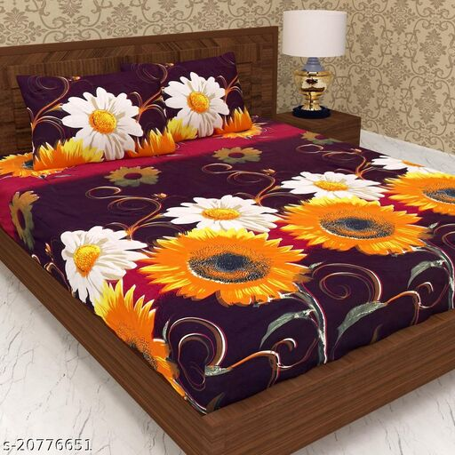 Glace Cotton Double Bedsheet with Two Pilow Covers