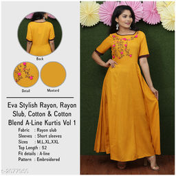 Women Rayon Slub Flared Embroidered Mustard Kurti