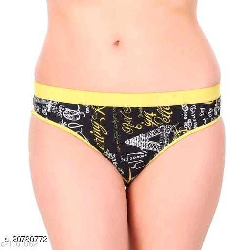 Women Hipster Yellow Cotton Blend Panty