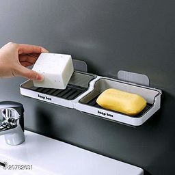 Shower plastic Soap Dish Holder/Wall Mounted Tray Bar or Bathroom Kitchen Accessories Leak Proof Self Draining Box