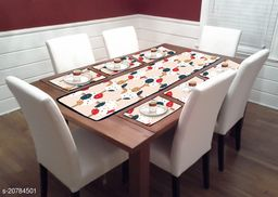 Dream Printed Laminated Non Wooven PVC Table Mats with Table Runner for Dining Table (Set of 7)