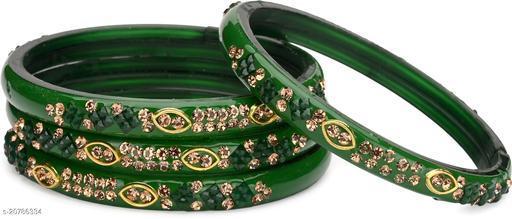 Verma New Colorful Glass Bangle/ Kada Set Ornamented ( Set Of Four)BZ29