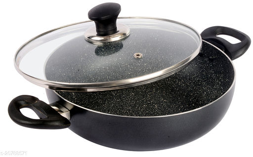 ETHICAL MASTREO Series Non-Stick Gas Compatible Kadhai 22 cm with Toughened Glass Lid