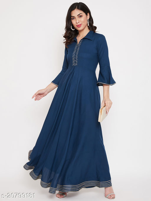 ANANYA Rayon  Solid Printed With Bell Sleeve A-Line Flared Women Gown