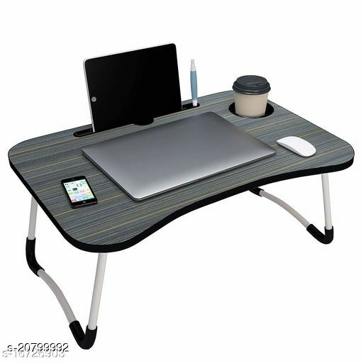 Laptop Table,Multipurpose Foldable Laptop Table with Cup Holder, Study Table, Bed Table, Breakfast Table, Foldable & Portable/Ergonomic & Rounded Edges/Non-Slip Legs (Black)