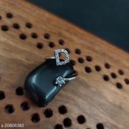 Brass Designer Alphabet Silver Plated Ring
