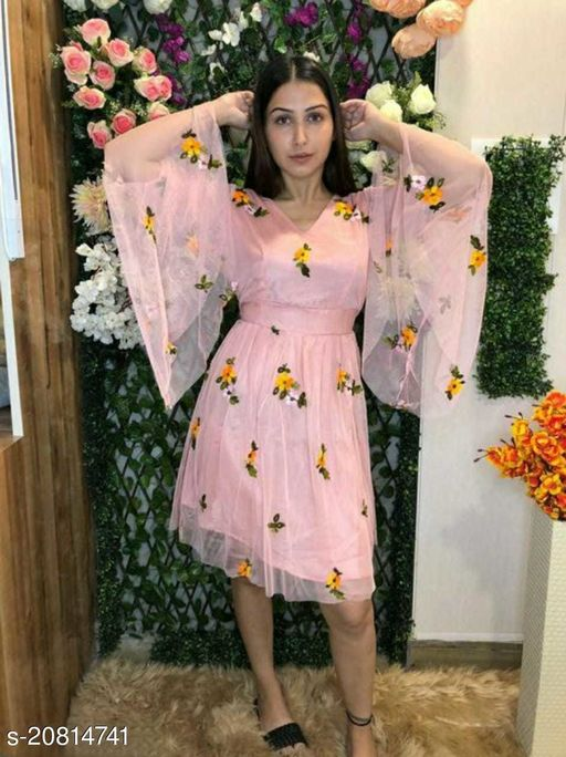 Bell Sleeves Embroidery Dress For Women(Peach)