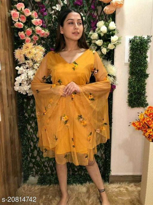 Bell Sleeves Embroidery Dress For Women(Mustard)