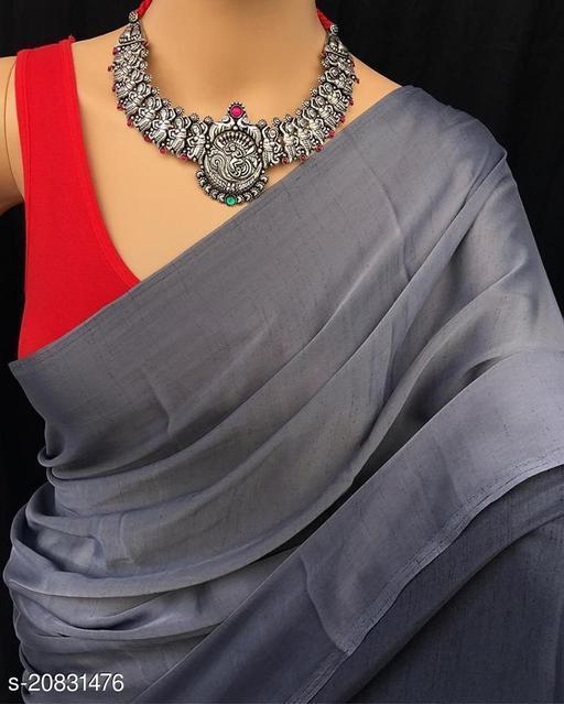 Beautiful Vichitra Silk Saree With Blouse Piece
