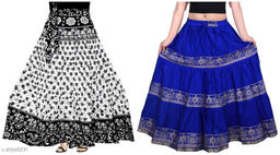 Jaipuri Cotton Skirts Combo ( 1 Wrap Around Skirt + 1 A-Line Skirt.)