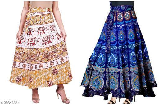 Jaipuri Cotton Women's Wrap Around Skirts.( 2 Skirts Combo.)