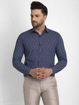 Jainish Men's Cotton Printed Formal Shirts