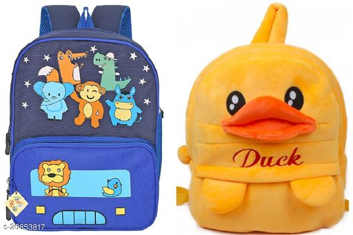 Pack of 2 Bags (Plush bag and Poleyster Bag) for kids Age group - 2 to 8 years