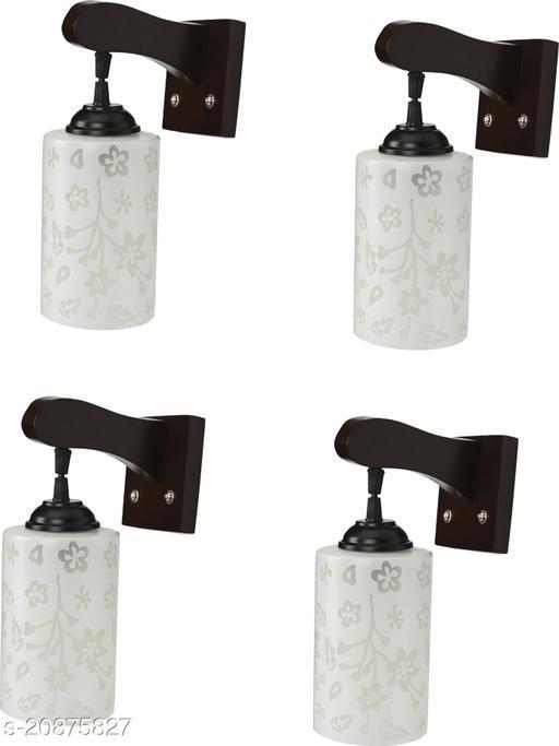 VERMA Stylish & Decorative Maroon Colorful Wall Lamp/ Light, Set Of Four-YU78