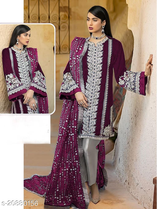 Krishna Tex Purple Fox Georgette With Embroidery Sequence work Suit