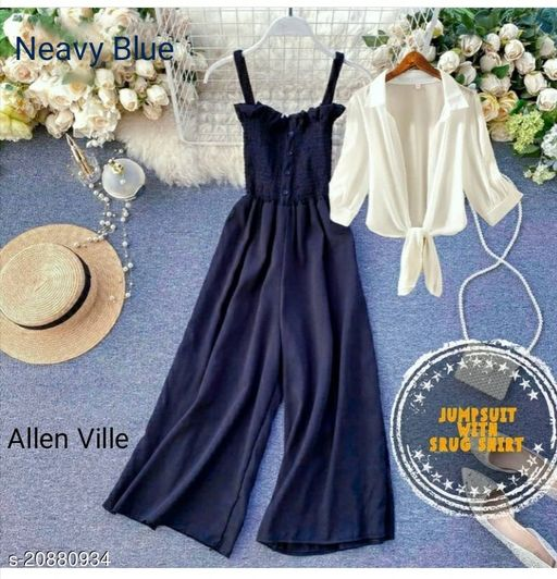 ALLEN VILLE NEW STYLISH NEAVY BLUE JUMP SUIT WITH SHRUG