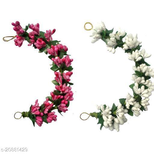VinshBond Set of 2 Fancy Pink & White Hair Artificial flower gajra, Flower Juda/ gajra | Juda Band Hair Accessories for Women & Girls