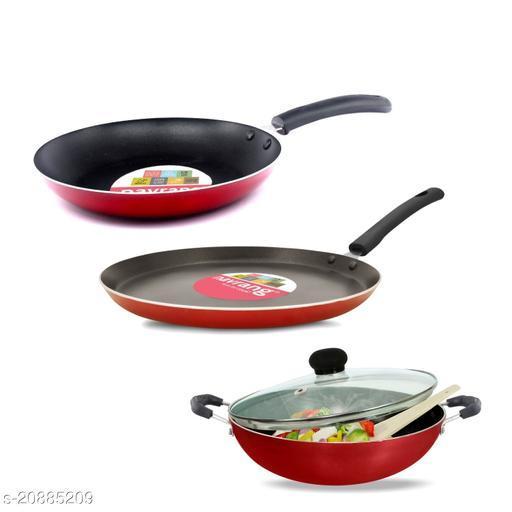 Navrang Non Stick Aluminium 3 Piece Gift Set Kadai 240 mm, Tawa 275 mm , Frypan 240mm With Glass Lid , Red , -Non Induction '