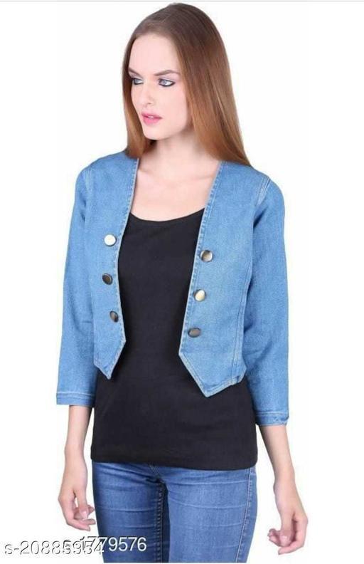 Trendy Martin Solid Denim Women/Ladies Shrug/Jacket for Girls