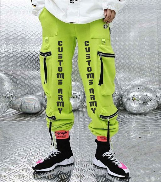 Neon Green Pant With Zipped Cargo Pockets