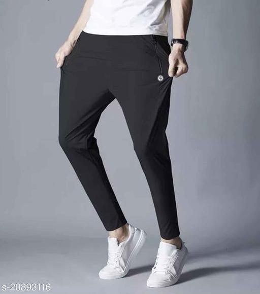 Black Men's Middle Waist Slim Small Feet Pants