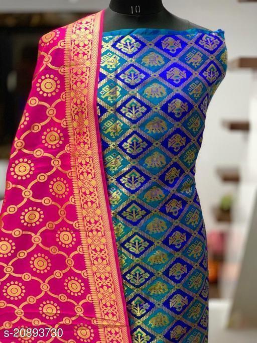 Jaquard Dress Materilas With Banarasi Duppatta And Bottom Wear(Un-stiched)