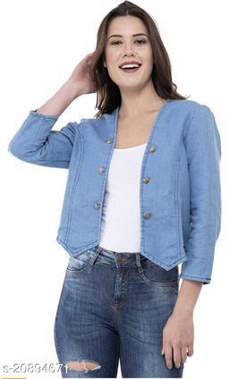 Trendy Martin Denim Solid Women's Shrug/Jacket for Girls