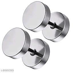 ShobhRam Silver Dumble 8MM Studs for Mens/Boys/Girls/Womens/Unisex Stainless Steel Stud Earring (1 Pair) Stainless Steel Plug Earring ()