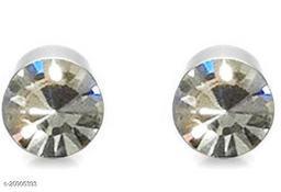 ShobhRam Silver Nug Magnetic Large 8mm for Mens/Boys/Girls/Womens/Unisex Stainless Steel Stud Earring (1 Pair) Crystal Stainless Steel Stud Earring, Magnetic Earring ()