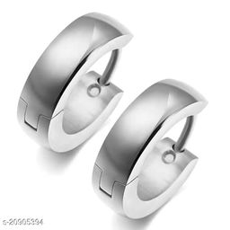 ShobhRam Silver Hoop Bali Studs for Mens/Boys/Girls/Womens/Unisex Stainless Steel Stud Earring (1 Pair) Stainless Steel Stud Earring ()