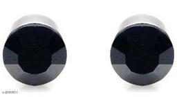 ShobhRam Black-Silver Round Magnetic 8mm for Mens/Boys/Girls/Womens/Unisex Stainless Steel Stud Earring (1 Pair) Stainless Steel Stud Earring, Magnetic Earring ()