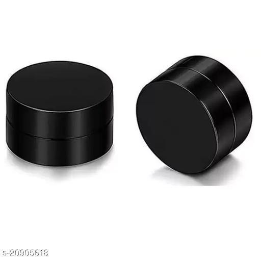 ShobhRam Black Round Magnetic Medium 8mm for Mens/Boys/Girls/Womens/Unisex Stainless Steel Stud Earring (1 Pair) Stainless Steel Stud Earring ()