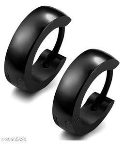 ShobhRam Black Hoop Bali Studs for Mens/Boys/Girls/Womens/Unisex Stainless Steel Stud Earring (1 Pair) Stainless Steel Stud Earring ()
