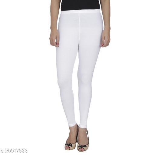 Style Pitara cotton lycra 160 GSM 4 way stretchable churidar cotton leggings for females of free size (White)