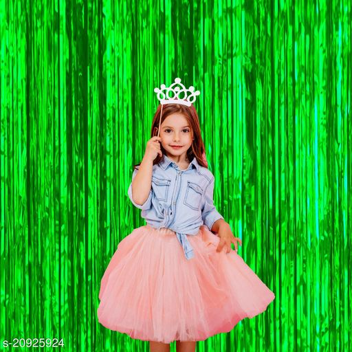 Style Secrets Super Shining Green Fringe/Curtain ( 6 by 3 feet ) for Birthday, Anniversary, Baby Shower, Office Party Decoration ( Pack of 2 )