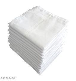 Men's White Cotton Handkerchief/Rumal/Hankies (Pack of 12 Pc)