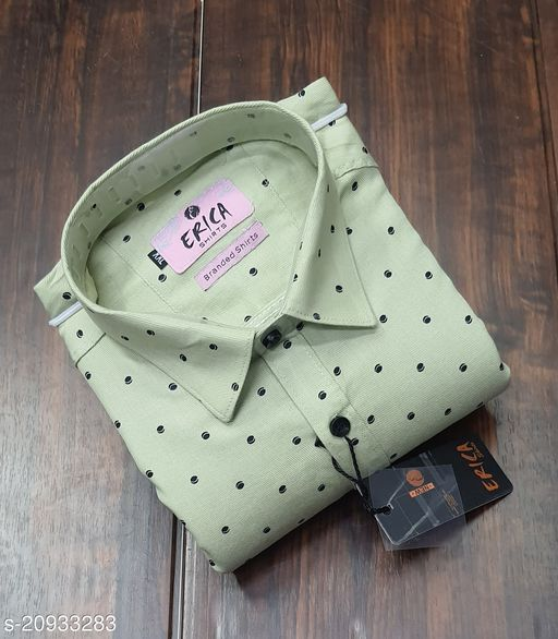 Men's Casual Party Wear Solid Printed Full Sleeves Premium Shirt (Mint Green)