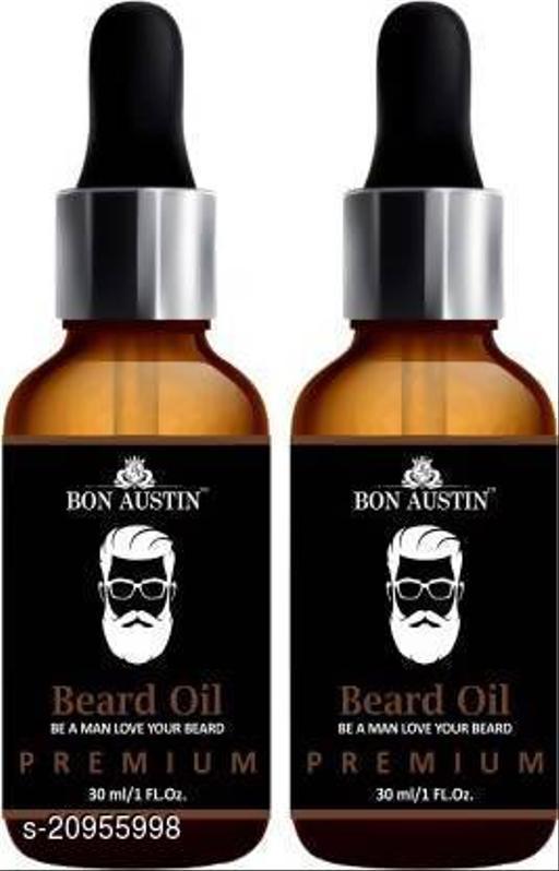 Bon Austin PREMIUM BEARD OIL- Enriched with Rose & Sandalwood oil For Fast Beard Growth Combo pack of 2 Bottles of 30 ml(60 ml) Hair Oil (60 ml)