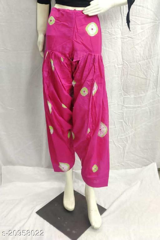 Women's Casual Cotton Bhandhej Print Patiala/Salwar (Free Size)(Magenta)