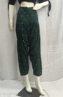 Women's Casual Rayon Printed Patiala/Salwar (Free Size)(Green)