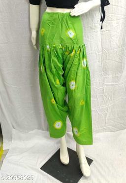 Women's Casual Cotton Bhandhej Print Patiala/Salwar (Free Size)(Green)
