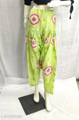 Women's Casual Cotton Bhandhej Print Patiala/Salwar (Free Size)(PistaGreen)