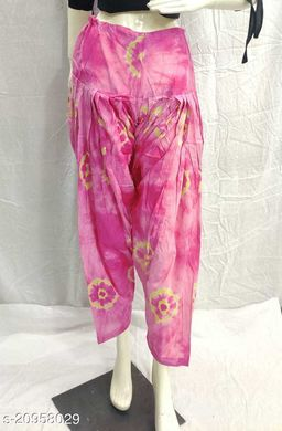 Women's Casual Cotton Bhandhej Print Patiala/Salwar (Free Size)(Baby Pink)